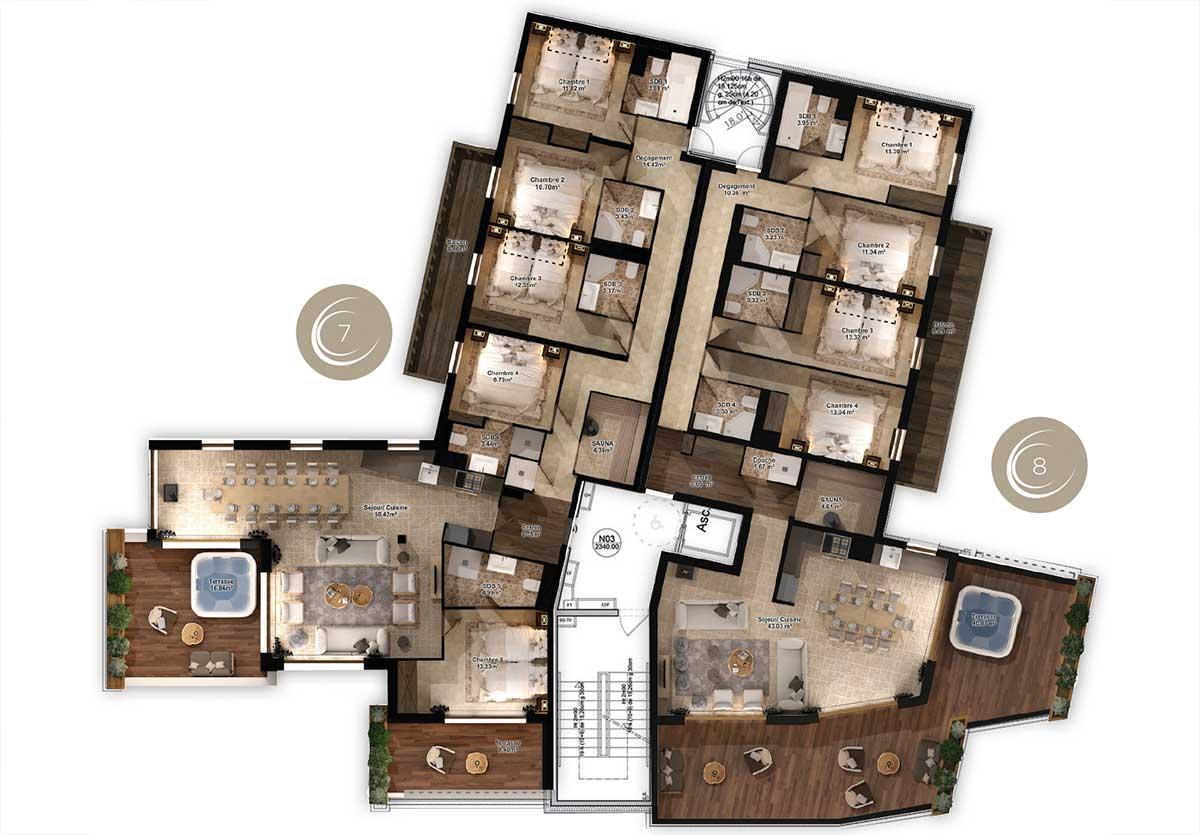 Résidence appartement à Val Thorens pour 12 personnes